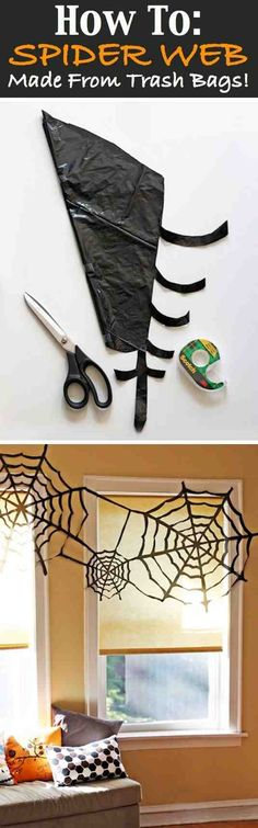 Spider webs from trash bags. Halloween decor! #GeekyHalloween #HalloweenDIY #halloweendecor #spiders #decor #DIY