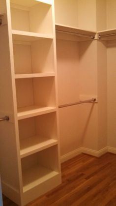Our master closet from this plan! | Do It Yourself Home Projects from Ana White - Love the idea of the shelving being set up like that on 2 walls and then one section for coats and dresses on the back wall! On the back wall for dresses raise the bar so that my shoe rack can go underneath! This is my plan