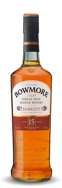 "Bowmore 15 yr ""darkest"" they say raisin, gentle smoke and chocolaty taste"