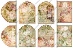 """Set of 4 arched printable tags (3.5 x 4.75 inch) ready to print on US Letter or A4 international size. I recommend that you print these tags on 250 gsm cardstock (12 pt /90 lb). Lovely floral burlap backgrounds in shades of rose, pink, yellow and green,withvintage advertising and butterflies """"stamped"""" in white give them a shabby cottage chic feel. Print and use as gift tags (write your message on the back) or decorate them with ribbon, bows,buttons,"""