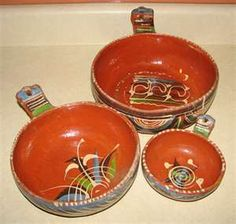 Mexican Pottery Handmade Nesting Bowls... We use these for salsa on the table at meal time!