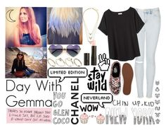 """""""Day With Gemma"""" by kennedey-lynn-freeman ❤ liked on Polyvore featuring Wildfox, Topshop, Organic by John Patrick, ASOS, MAKE UP STORE, Vans, Pink Vanilla and Prada"""