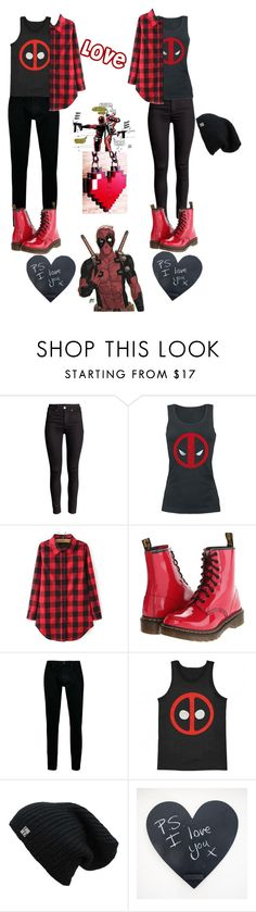 """""""Going to see deadpool with your Valentine <3"""" by haileythekiller ❤ liked on Polyvore featuring Dr. Martens and Topman"""