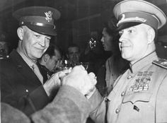 Eisenhower and Zhukov Allied leaders toast their victory Frankfort Germany June 13 1945 Among them…