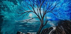 Dabbing Sponge blue tree painting and moon. So pretty! 30 Best acrylic painting ideas For Beginners - (18)