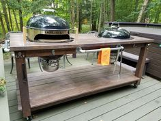 My grill table 2017 Outdoor Bbq Kitchen, Outdoor Kitchen Design, Outdoor Kitchens, Outdoor Cooking, Grill Cart, I Grill, Plancha Grill, Weber Kettle, Privacy Fence Designs