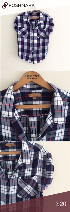 Jachs girlfriend flannel Jachs girlfriend  Size large Blue white and red flannel. Super soft original flannel. Short sleeve. Great condition. Jachs Tops Button Down Shirts
