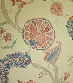 Palampore Wallpaper Large floral Jacobean design wallpaper in blue and red on a taupe background.