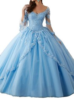 Peony Long Sleeve Lace Quinceanera Dresses Formal Prom Dresses Ball Gown (6, Blue)