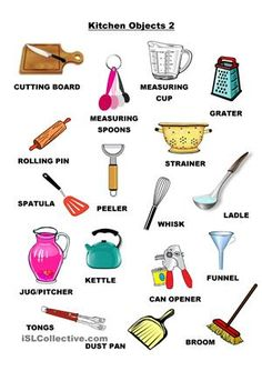 Kitchen Objects 2 English Food, English Study, English Lessons, English Grammar, Teach English To Kids, Learn English, Teaching English, English House, English Class