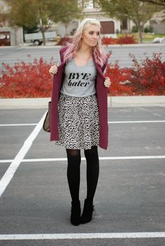 Bye Hater tee with a printed skirt and cute vest. Fun fall and winter outfit! #pinkhair  Outfit from www.theredclosetdiary.com