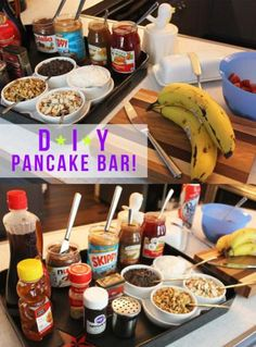 Include other toppings like caramel sauce, strawberry jam, and peanut butter all work well. Obviously, you should include Nutella. Anthony Bourdain Made An Adorable Pancake Bar For His Daughter's Slumber Party Christmas Pancakes, Christmas Brunch, Christmas Breakfast, Christmas Morning, Christmas Christmas, Jamberry Christmas, Office Christmas, Christmas Ideas, Pancake Bar
