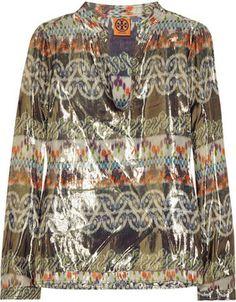 Tory Burch Stephanie metallic silk-blend tunic on shopstyle.co.uk