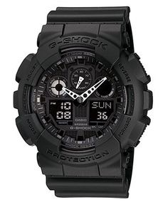 G-Shock Watch, Men's Black Resin Strap GA100-1A1 - All Watches - Jewelry & Watches - Macy's