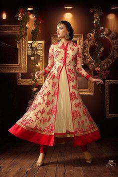 Crema Color neto tela Anarkali traje ropa de por VardhitaSarees