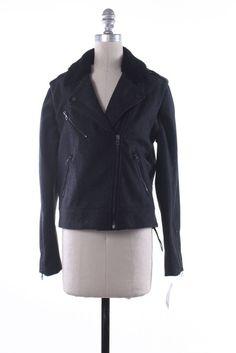 RAG & BONE Gray Wool Shearling Lamb Trim Asymmetric Moto Jacket Size 2…