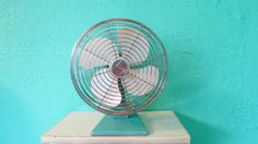 Working Condition Superior Electric Tabletop Vintage Fan with Metal Turquoise Blue Base and White Blades, Retro Mid-Century Industrial on Etsy, $75.00
