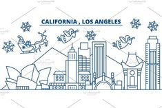 USA, California, Los Angeles winter city skyline. Merry Christmas and Happy New Year decorated banner. Winter greeting card with snow and Santa Claus. Flat, line vector. Linear christmas illustration. Billboard Templates