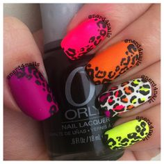 Top 50 Styles for Animal Print Nail - Reny styles Funky Nails, Neon Nails, Love Nails, Pretty Nails, My Nails, Uñas Color Neon, Leopard Print Nails, Polka Dot Nails, Manicure Y Pedicure