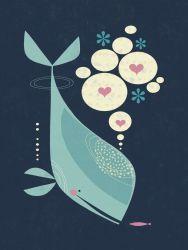 Whale has a Friend, Scandinavian style art by Tracy Walker.