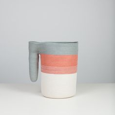 One-of-a-kind This vessel is made from sewing thread and cotton cord in natural, salmon, and beach glass grey. International Craft, Cotton Rope, Salmon, Textiles, Sewing, Crafts, Baskets, Image, Food