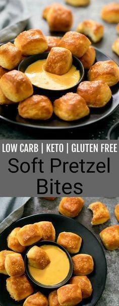 Low Carb Keto Gluten Free Soft Pretzels made with fathead dough. These are easy, yeast free soft pretzel bites that are perfect for a snack or game day. Low Carb Keto, Low Carb Recipes, Diet Recipes, Snacks Recipes, Easy Keto Recipes, Chicken Recipes, Protein Recipes, Recipes Dinner, Smoothie Recipes