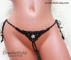 http://etsy.me/2Eglci9  latest addition to my #etsy shop: #Black #crochet CRYSTAL FLOWERS #mini #gstring #ouvert #thong, crotchless #erotic #lingerie #panties #opencrotch  #women #lingerie #bridalshower #handmade #weddingnight