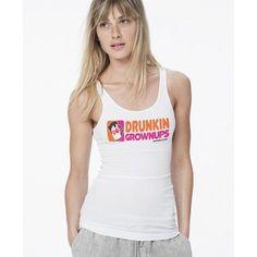 Drunkin Grownups - Women's Ribbed Racerback Tank Top #drunk Slogan Tshirt, T Shirt, Bartender Shirts, Pub Decor, Racerback Tank Top, Growing Up, Funny Stuff, Alcohol, Hilarious