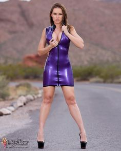 """carrielachance: """"I decided to shoot in my metallic purple latex dress from…"""