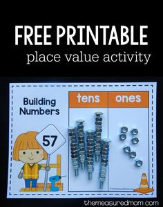 Teach Your Child to Read - Place value can be such a fun math concept to teach. Read on for a hands-on place value activity. using nuts and bolts! Give Your Child a Head Start, and.Pave the Way for a Bright, Successful Future. Place Value Games, Place Value Activities, Math Activities, Base Ten Activities, Math For Kids, Fun Math, Lego Math, Math Help, Math Classroom
