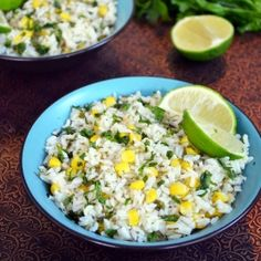 Lime-Cilantro Rice with Corn. Lime juice cilantro corn and jalapeno make this rice the best side dish for any bbq party this summer! So fresh and delicious! Mexican Food Recipes, Vegetarian Recipes, Cooking Recipes, Healthy Recipes, Delicious Recipes, Think Food, I Love Food, Rice Dishes, Food Dishes