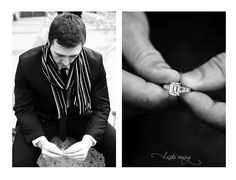 Robert Doisneau's Kiss by the Hotel de Ville inspired engagement session, French inspired, black and white photography, chic, fashion-forward, copyright @Kristin Vining Photography, Charlotte, North Carolina Wedding Photographer, groom, engagement, engagement ring, scarf