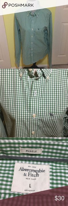 "Abercrombie & Fitch green check shirt Abercrombie & Fitch green check ""Muscle""  long sleeve button down shirt. Size Large.  Never been worn.  Perfect condition. Abercrombie & Fitch Shirts Casual Button Down Shirts"