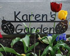 A very special friend, Karen, has an amazing garden... a happy, beautiful spot!  This reminded me of her!