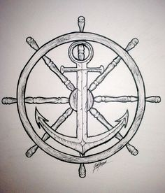 ships wheel and anchor drawing