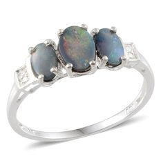Australian Boulder Opal (Ovl 1.360Ct) Ring in Sterling Silver Nickel Free (Size 6)