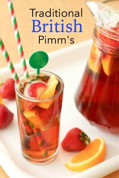 Traditional British Pimm's - Summer Isn't Complete for Brits Without a Pitcher of Pimm's :) and It's So Easy to Make! Cocktail Drinks, Festive Cocktails, Mary Berry, Fish And Chips, British Party, British Summer, Easy Mixed Drinks, Mezze, Party