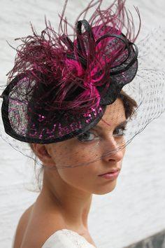 Hot Purple Hat, Veiled fascinator, Royal Ascot fascinator, Kentucky derby Hat…