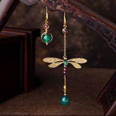 Dragonfly Jewelry, Wire Jewelry, Jewelry Crafts, Beaded Jewelry, Jewellery, Vintage Earrings, Women's Earrings, Earrings Handmade, Handmade Jewelry