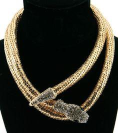 Bling Rhinestone Big Wrap-Around Snake Theme Statement Magnetic Closure Necklace