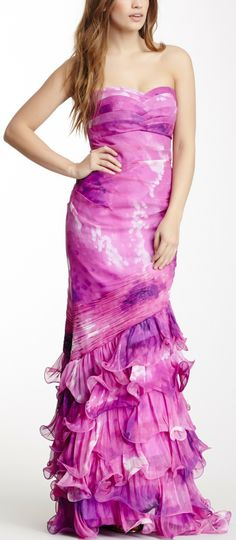 Dalia MacPhee Long Ruffle Trim Dress