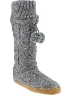 Old Navy   Women's Pom-Pom Sweater Slipper Boots