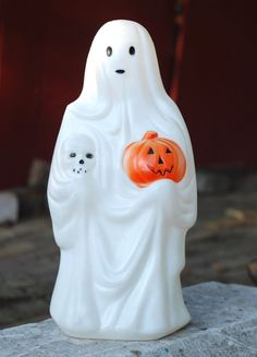 Vintage Empire Halloween Blowmold Ghost with Pumpkin and by INERS, $40.00
