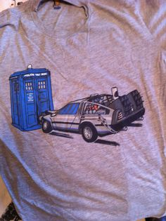 From the personal Nerdist Collection of Whovian Gear Item #1985: Delorean/TARDIS shirt.