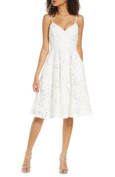 Cute white lace dress with spaghetti straps | Nora Lee Lace Fit & Flare Dress #affiliate link #bridetobe #wedding #weddingideas #whitedress #lacedress