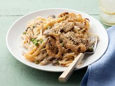 Chicken Tetrazzini by Giada De Laurentiis of Everyday Italian on Food Network. I just made this tonight. SO YUMMY!!!! Definitely a keeper. Only modifications I made was using Panko breadcrumbs in place of the Italian breadcrumbs and NO mushrooms (we don't like them).