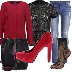 Jeans chiari, camicetta in black effetto merletto, cappotto girocollo per valorizzare il colletto della camicetta, borsa sacco bicolor, decoltèe rosso con plateau e calzini in pizzo.