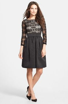 Eliza J Mixed Media Fit & Flare Dress  $158.00