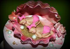 cute baby girl shower cakes | Twin Girls Baby Shower Cake
