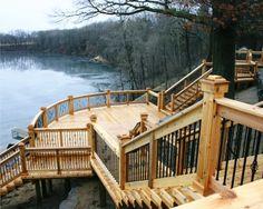 Sloped Backyard, Backyard Plan, Cabin Design, Deck Design, Cottage Stairs, Lake Landscaping, Big Deck, Cedar Deck, Lakeside Living